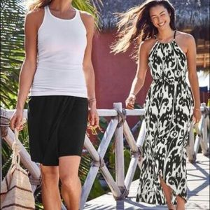 ATHLETA | Ikat printed tulip maxi dress M black
